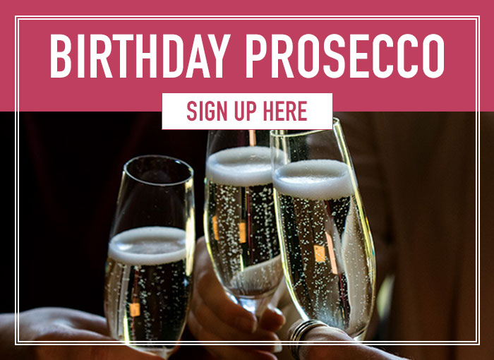 Birthday prosecco when you sign up